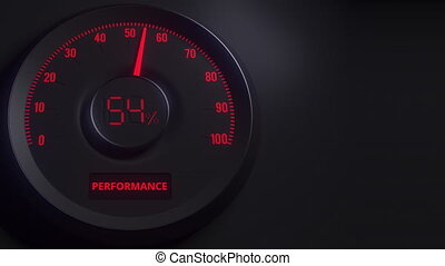Red and black performance meter or indicator, 3D animation -...