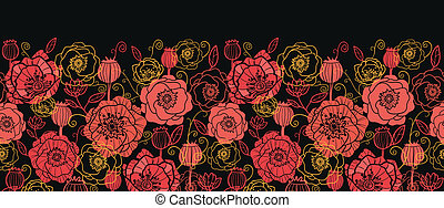 Red and black poppy flowers horizontal seamless pattern border