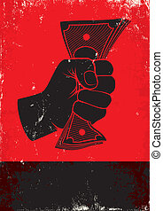 poster with fist and money - Red and black poster with fist...