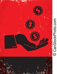 hand and coin - Red and black poster with hand and coin