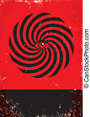 hypnosis - Red and black poster with hypnosis print
