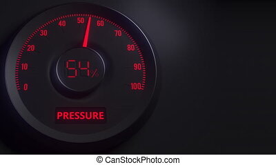 Red and black pressure meter or indicator, 3D animation -...