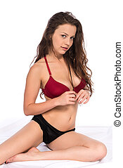 Red and black - Pretty petite brunette in red and black...