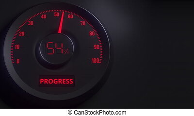 Red and black progress meter or indicator, 3D animation -...