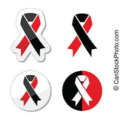 Red and black ribbons set - atheism - Atheism solidariy...