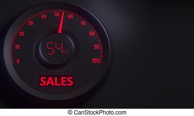 Red and black sales meter or indicator, 3D animation - Red...
