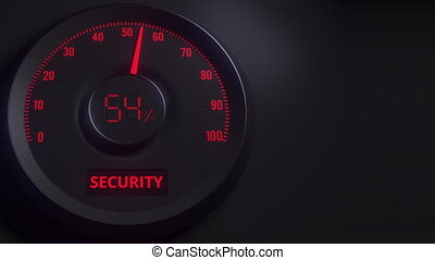 Red and black security meter or indicator, 3D animation -...