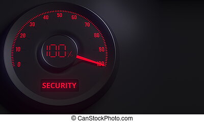 Red and black security meter or indicator, 3D rendering