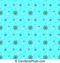 Red and black Snowflake seamless pattern. Snow on blue background. Abstract wallpaper, wrapping decoration. Symbol winter, Merry Christmas holiday, Happy New Year celebration Vector illustration eps 10