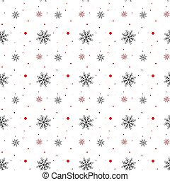 Red and black Snowflake seamless pattern. Snow on white background. Abstract wallpaper, wrapping decoration. Symbol winter, Merry Christmas holiday, Happy New Year celebration Vector illustration