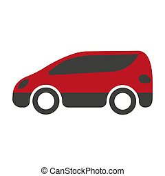 Red and black spacious minibus on white background - Red and...