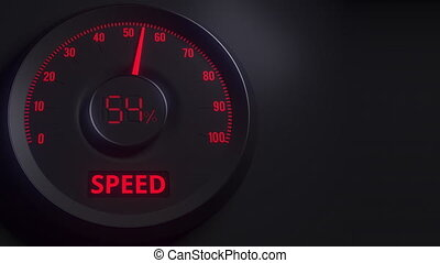 Red and black speed meter or indicator, 3D animation - Red...
