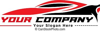 red and black sport car logo design silhouette