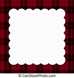 Red and Black Square Plaid Frame for your message or invitation