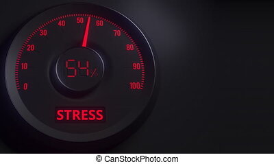 Red and black stress meter or indicator, 3D animation - Red...