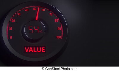 Red and black value meter or indicator, 3D animation - Red...