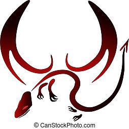 dragon - red and black vector dragon symbol