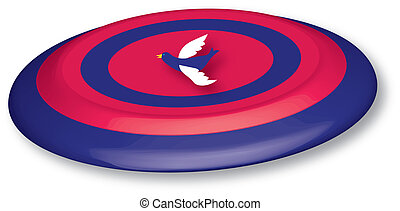 3D frisbee - red and blue 3D frisbee with bird icon, vector...