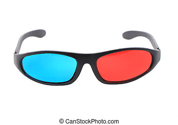 red and blue 3d plastic glasses