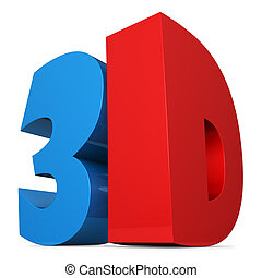 Red and blue 3D sign isolated on white.
