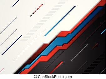 Red and blue abstract tech background
