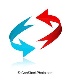 Red and Blue Arrows in 3D Circle