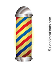 red and blue barbers pole - old fashioned babrbers pole with...