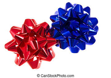 red and blue bow