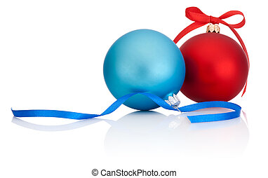 Red and Blue Christmas Ball with ribbon bow Isolated on white background