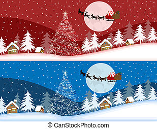 Red and blue christmas banners