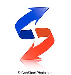 Red and Blue Double Arrow Vector 3D Logotype Symbol