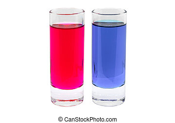 Red and blue drink in glass