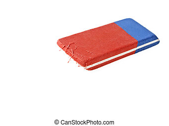 Red and blue eraser on a white background