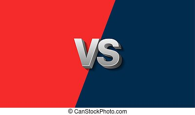 Red and Blue Fighter Background Versus Screen, Vector Illustration