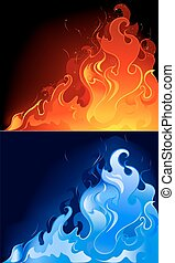 red and blue flames