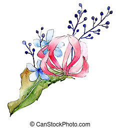 Red and blue flowers. Isolated flower illustration element. Background set. Watercolour drawing aquarelle bouquet.