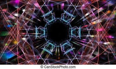 Red and blue fractal with multicolored psychedelic effect, blurry lights, tunnel motion, disco decoration, vivid psychedelic colors