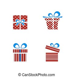 Red and blue gifts icon set on white background