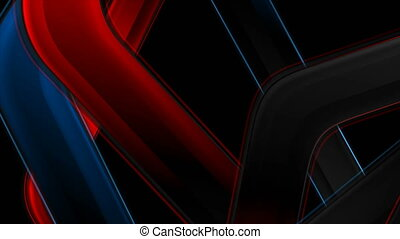 Red and blue glossy stripes abstract hi-tech motion background. Seamless looping. Video animation Ultra HD 4K 3840x2160