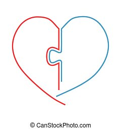 red and blue heart half with jigsaw connection, outline vector illustration