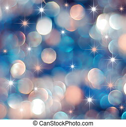 Christmas red and blue lights background with little stars