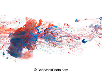 Red and blue ink