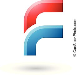 Red and Blue Letter F with Round Corners Vector Illustration