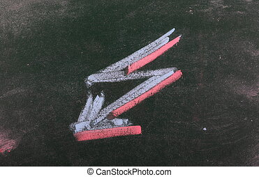 Red and blue lightning arrow chalkboard, blackboard texture
