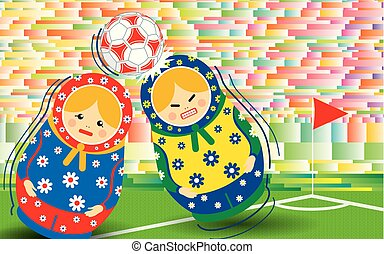Red and blue matryoshka playing soccer with green, blue and...