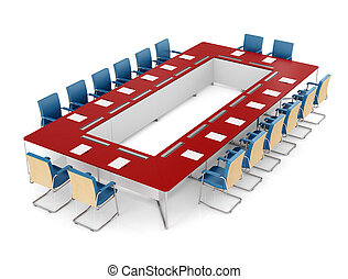 Red and blue meeting table and red chair on white