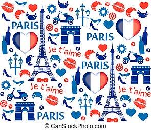 Red and blue Paris illustration pattern. Vector illustration.