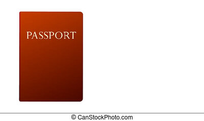 red and blue passport animation on  white background