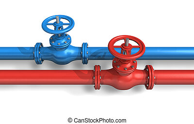 Red and blue pipelines