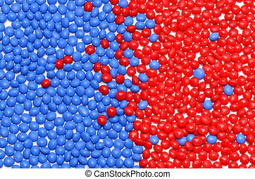 red and blue polymer - two dyed polymer resins